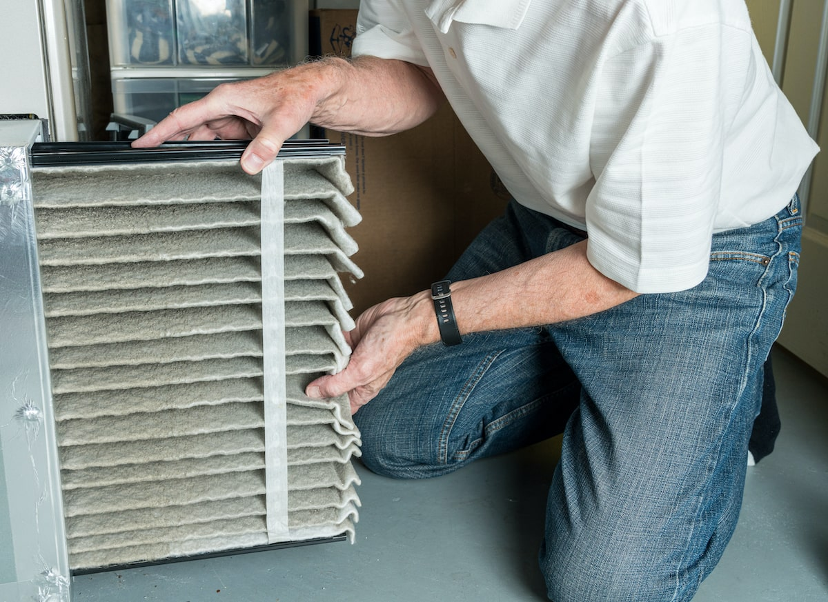 dirty air filter from HVAC furnace in need of a replacement