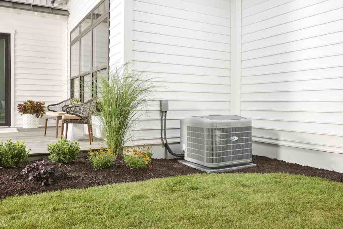 Residential HVAC equipment installed outside of a Portland home